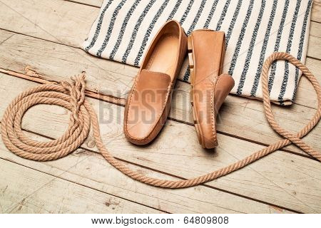 Men's Loafer Shoe On Old Wood