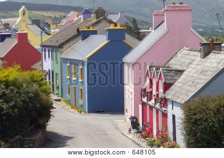 Colourful Houses Eyeries Village Street Ring Of Beara Ireland