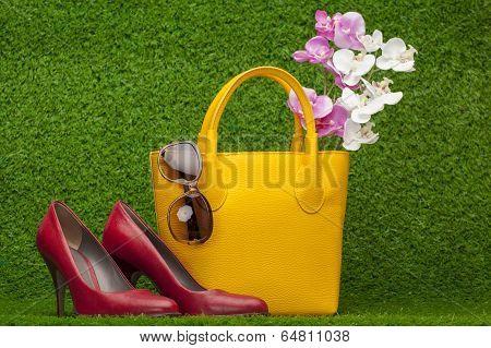 Sunglasses, Handbag; And Red Shoes