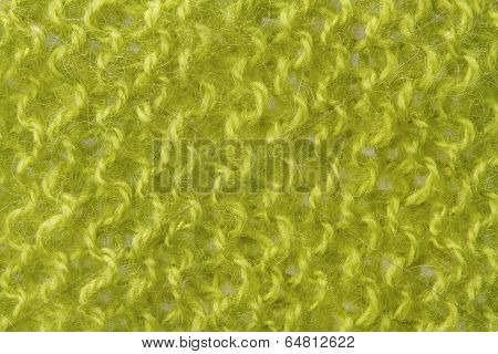 Woolen Texture Background, Knitted Wool Fabric, Green Hairy Fluffy Textile