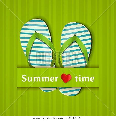 Summer Time. Card With Flip Flops. Vector Illustration.