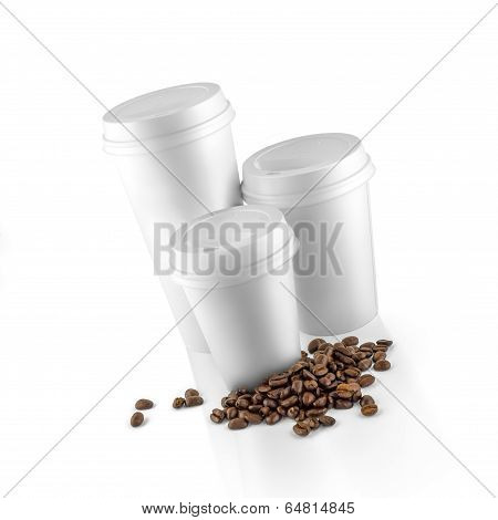 Set Of White Take-out Coffee Cups And Coffee Beans
