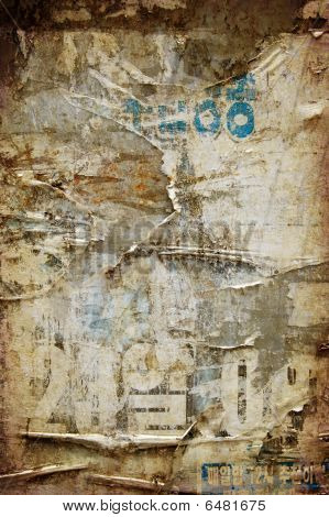 Grunge Abstract Texture Backgroundwith Torned Posters