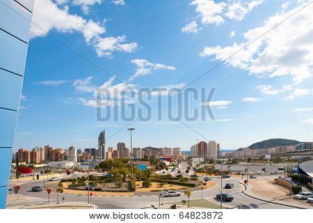 Benidorm Alicante cityscape skyline vacation destination in Spain