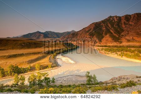 Merger Of The Two Great Rivers Of Altai - Chuya And Katun
