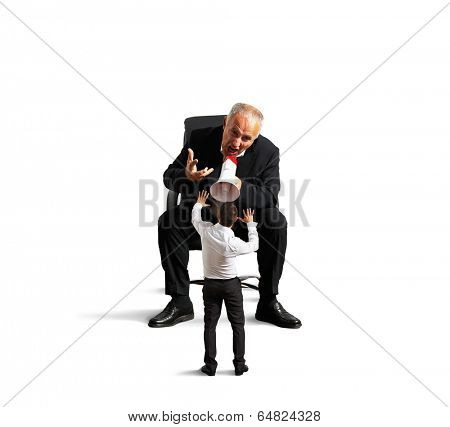 big boss is screaming at bad worker. isolated on white background