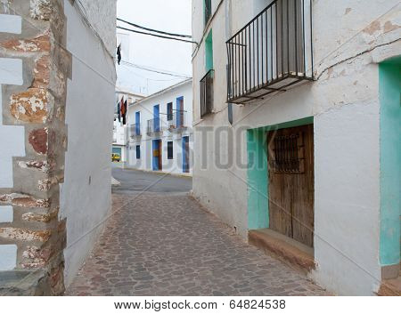 Ain village in Castellon whitewashed facades at Valencian community spain