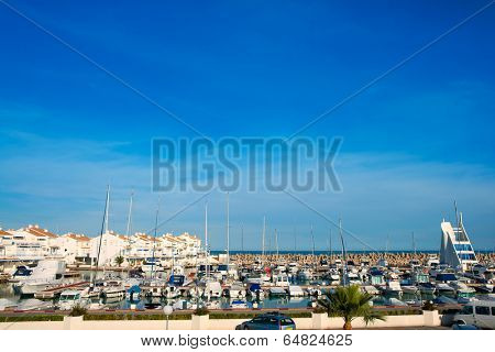 Alcossebre alcoceber marina port in Castellon of Valencian community spain