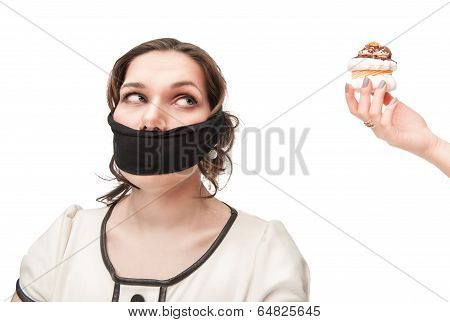 Gagged Plus Size Woman Seduced With Pastry