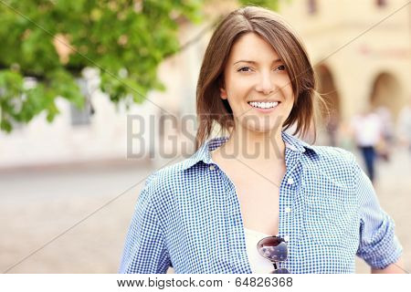 A picture of a happy tourist in Slovakian Bardejov