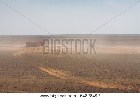 Abandoned barn in the desert