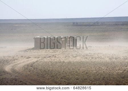 Abandoned barn in the desert
