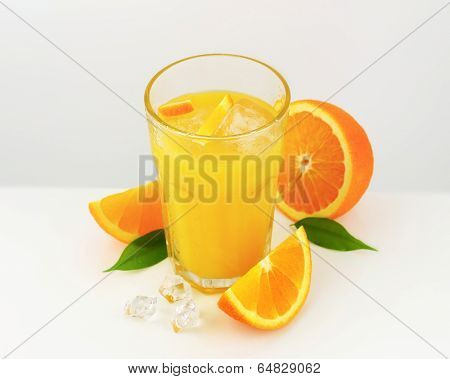 pure juice with ice and pieces of cut oranges