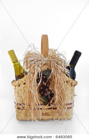 Wine bottles in a basket