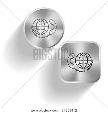 Global communication. Vector set steel buttons