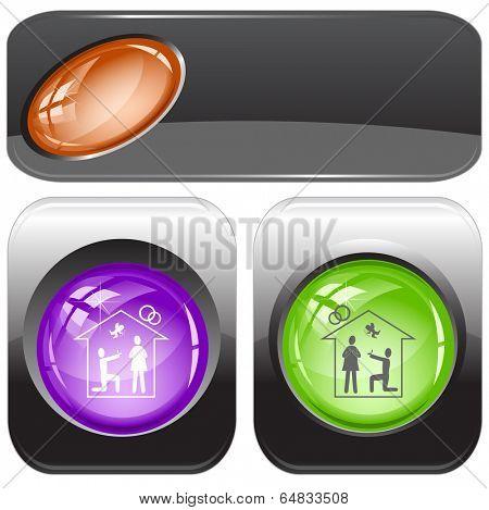 Home affiance. Vector internet buttons.
