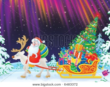 Santa rides on Reindeer dragging the sledge