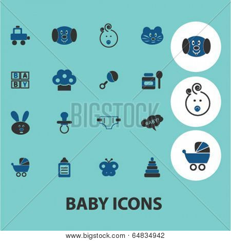 baby, children, toys icons, signs set, vector