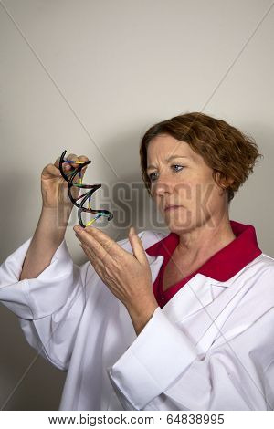 Scientist with DNA Helix