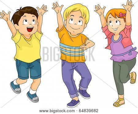 Illustration of Kids Playing Catch