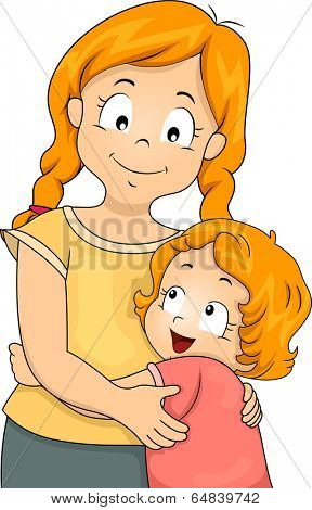 Illustration of a Little Girl Giving Her Elder Sister a Big Hug