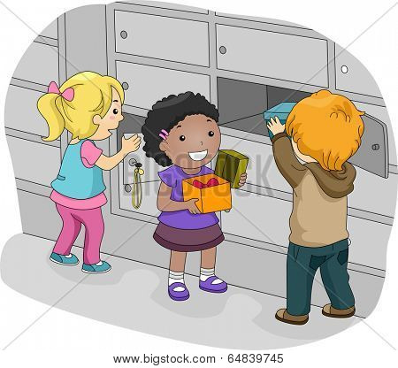 Illustration of Little Kids Putting Their Things in Their Lockers