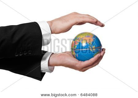 Businessman Holding Mini Globe Isolated On White