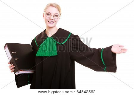 Woman Lawyer Attorney Wearing Classic Polish Gown With File Folder