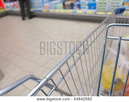 View Of A Shopping Cart With Grocery Items