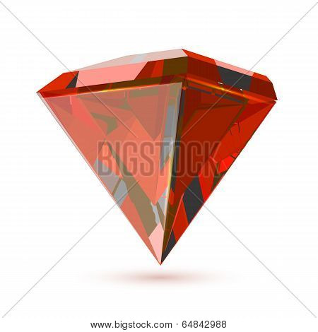 Shining transparent diamond isolated on white.