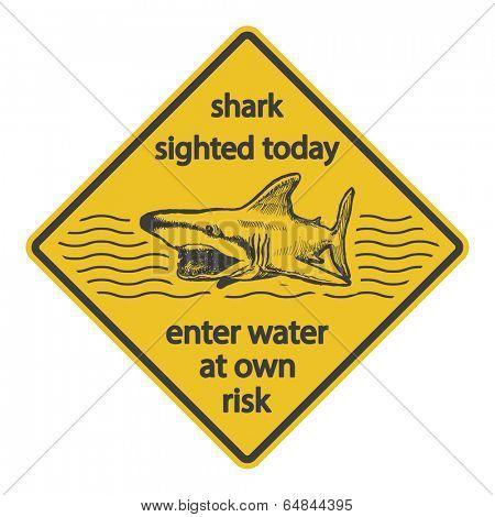 Grunge shark attack warning sign vector eps 8