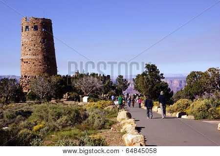 Tourists Approach The Watchtower