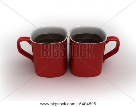 Coffee Love - Two Kissing Cups