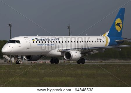 Ukraine International Airlines Embraer ERJ190-100 aircraft preparing for take-off from the runway