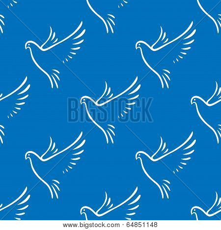 Seamless pattern of flying doves of peace