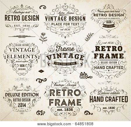 Vintage Frames, Scroll Elements and Retro Paper Background.