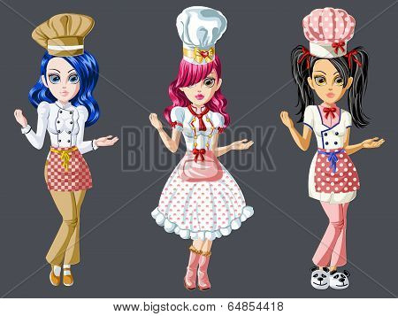 Cute Chef Girls Character