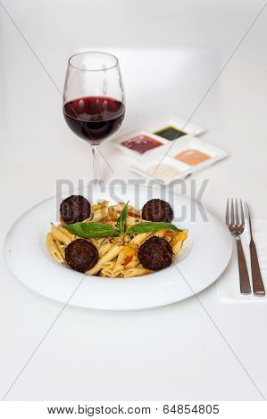 Yummy Pasta Served With Red Wine