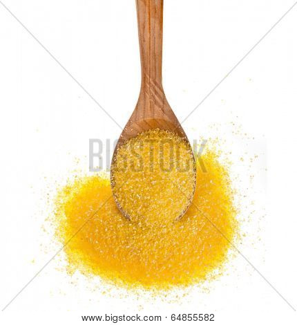 cornmeal maize flour heap in wooden spoon isolated on white background