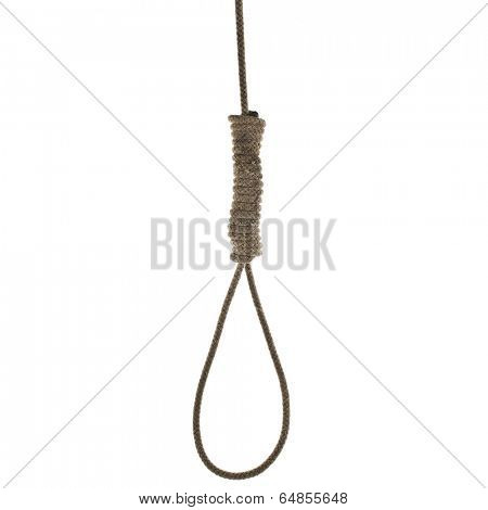 Hanging noose of rope isolated on white background