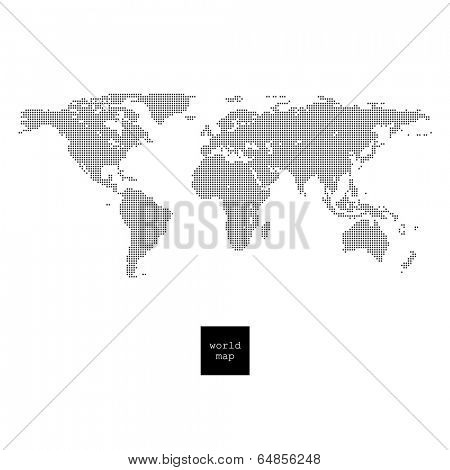 World map. Pixelated world map isolated on white