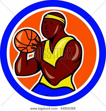 African-american Basketball Player Shooting Cartoon Circle