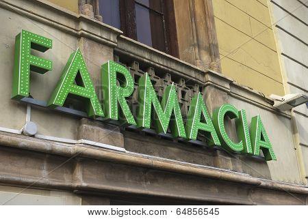 Farmacia Sign In Barcelona. Spain