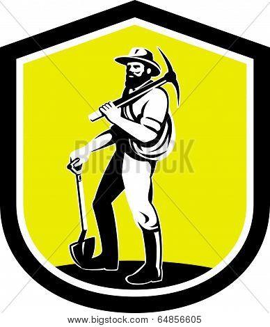 Coal Miner Carry Pick Axe Shoulder Retro