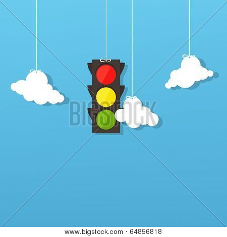 traffic light and clouds