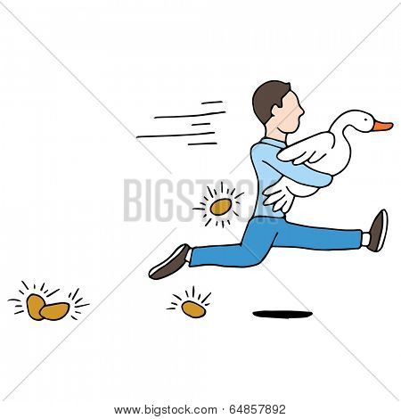 An image of a man stealing a golden goose.