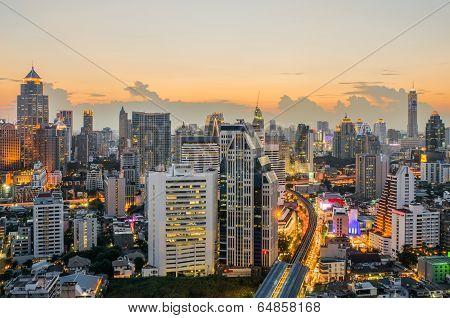 Bangkok Central Business District (cbd) At Night