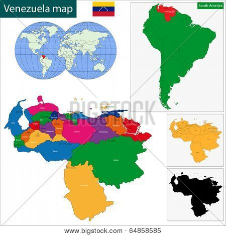 Map of the Bolivarian Republic of Venezuela with the states colored in bright colors and the main cities