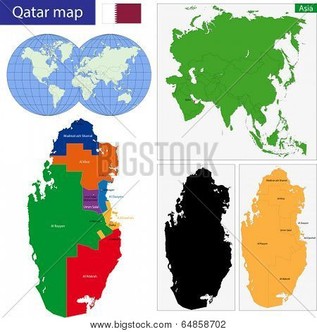 Map of the State of Qatar drawn with high detail and accuracy