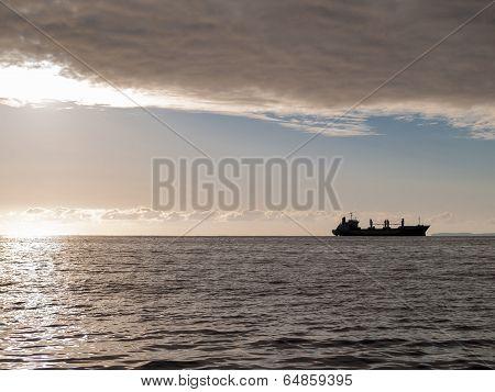 Ship on horizon.